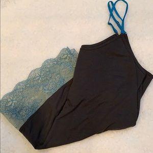 AEO stretchy lace hem swing cami top